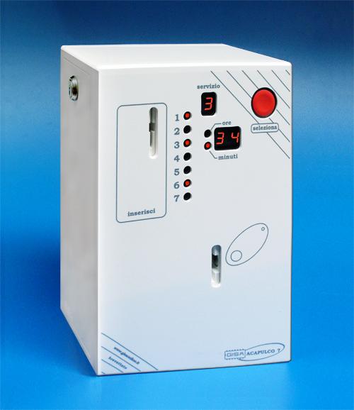 Gettoniera ACAPULCO 7 - Fino a 7 docce o servizi controllati con gettone/moneta e tessera